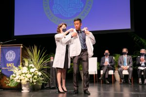 Male Student at White Coat Ceremony